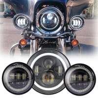 LED Motocikla Tālās un Tuvās Gaismas Lukturi ar DRL un Pagriezienu 60+30W