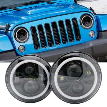 LED Jeep Tālās/Tuvās Gaismas Lukturi ar DRL+Pagrieziens Ø180mm Osram Chip