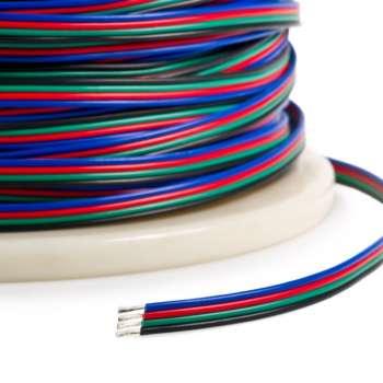 Četru dzīslu vads 4 * 0.3² (sarkans + zaļš + zils + melni kabeļi)