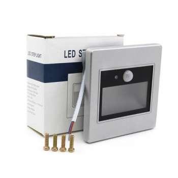 Kustības Sensoru Sudraba Ar Stiklu LED Kāpņu Apgaismojuma Panelis 1W