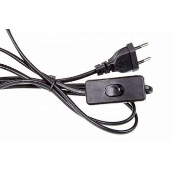 220V strāvas vads ar slēdzi (Melns)